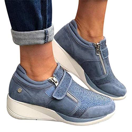 Oceansee Zapatos de las mujeres de Gancho Loop superficial Zapatilla de Deporte Med Talón Cuñas Mujer Zapatos Vulcanize Zapatos Transpirable Confort Casual Zapatos de las Señoras Azul 42