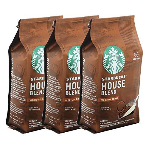 Starbucks House Blend Kaffee, 3er Set, Medium Roast, Röstkaffee, Vollmundig mit Toffee-Noten, Gemahlen, 3 x 200 g