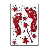 LQH Huella de la Mano de Huellas Digitales Huella Etiqueta de la Pared decoración de Halloween del Horror de la Sangre Scary (Size : 2)