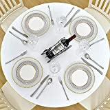 Ekotech Round Fitted Vinyl Tablecloth with Elastic Edge and Flannel Backing,Waterproof Plastic Table Cover for Outdoor, Patio, Kitchen and Dining Room(Transparent)