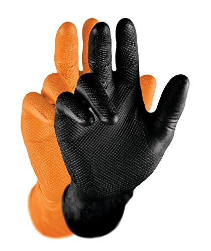 Grippaz Nitril-Handscuhe (50 Stück) latexfreie Arbeitshandschuhe extrem robust&reißfest, Orange, M