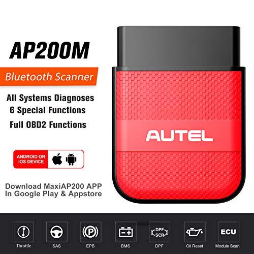 Autel AP200M OBD2 Diagnosegerät 6 Service Rücksteller EPB Öl LWS DPF usw, universal Obd2 Bluetooth Adapter für ALLE Systeme, IOS & Android kompatibel (2021 Neueste)