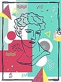 Flying elf 5D DIY Diamantmalerei, Kreuzstich-Set,Diamantmalerei-Sets para adultos, Strassstein-Stickerei handgemalte Memphis geometrische abstrakte figura línea dekorative pintura
