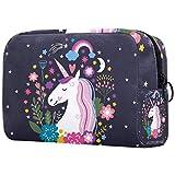 Neceser Viaje Hombre y Mujer Unicornio Arcoiris Flor Pequeño Bolsas de Aseo Neceser Maquillaje Pack Neceser Baño Toiletry Kit, Cosmético Organizadores de Viaje 18.5x7.5x13cm