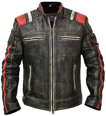 "Cafe Racer Vintage Retro Distressed Biker Black Cowhide Leather Jacket - Moto Leather Jacket Men (L/Body Chest 42"" to 44"") by"