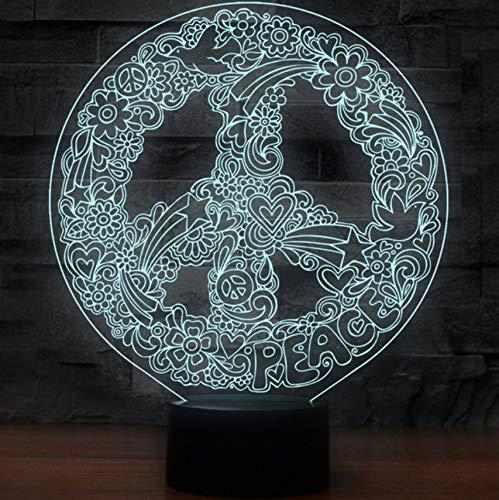 Innovador arte 3D Hippie Signo de la paz forma luces de la noche para 7 colores que cambian la iluminación led decoración de la oficina creativa lámpara de mesa USB