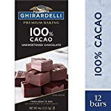 Ghirardelli Premium Baking Bar 100% Cacao Unsweetened Chocolate, 4 Oz, Pack of 12