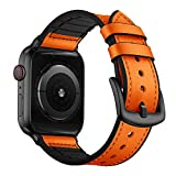 OUHENG Compatible with Apple Watch Band 42mm 44mm, Sweatproof Genuine Leather and Rubber Hybrid Band Strap Compatible with iWatch Series 5 Series 4 Series 3 Series 2 Series 1, Orange
