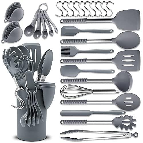BAIYING Set Utensili da Cucina, 30 Pezzi Utensili Cucina - Con Antiaderente & Resistente al Calore, Senza BPA, Utensili da Cucina da Silicone Con Manico in Acciaio Inossidabile - Grigio