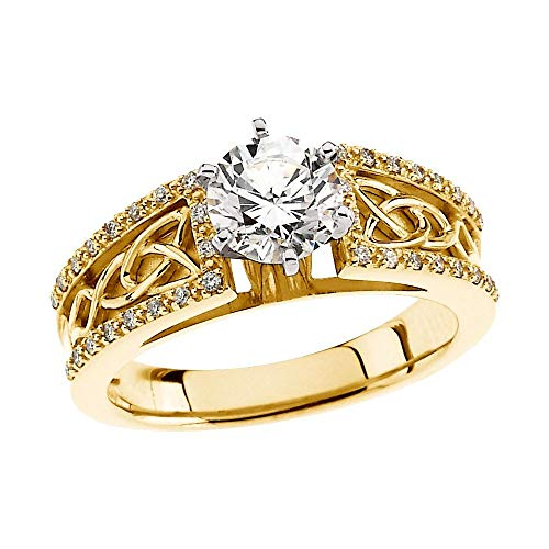 Solid 14k Yellow Gold 1 1/4 Cttw Diamond Celtic-Inspired Engagement Ring Band (Width = 6.7mm) - Size 6.5