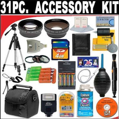 31 PC ULTIMATE SUPER SAVINGS DELUXE DB ROTH ACCESSORY KIT, INCLUDES FLASH, LENSES, FILTERS, ACCESSORIES AND MUCH MORE! For The Canon Powershot A700, A710, A720 Digital Cameras + BONUS Gift = Waterproof Camera = Great For Kids