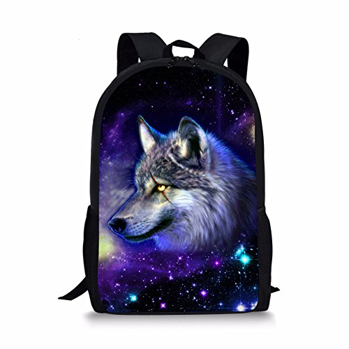 Showudesigns Wolf Backpack for School Boys Girls School Bag with Side Pocket Unique Animal Galaxy Bookbag for Kids 2 Grade/ 3Rd Grade/ 4Th Grade/ 5Th Grade
