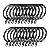 Coolty 60pcs Anillos de Cortina de Metal Anillas Colgante para Colgar Cortinas y Varillas (Negro)