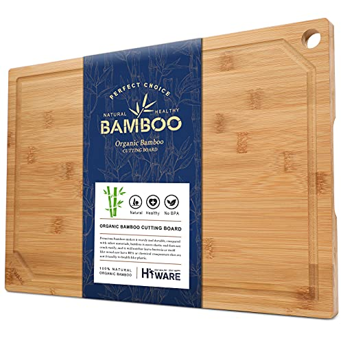 Hiware Extra Large Bamboo Cutting Board for Kitchen, Heavy Duty Wood Cutting Board with Juice Groove, 100% Organic Bamboo, Pre Oiled, 18' x 12'