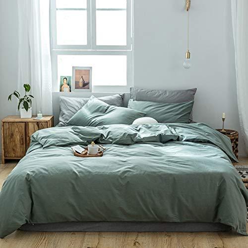 GETIYA, biancheria da letto di lusso, 220 x 240 cm, colore verde scuro, tinta unita, biancheria da letto da uomo e da donna, 100% cotone morbido, con chiusura lampo e 2 federe da 80 x 80 cm