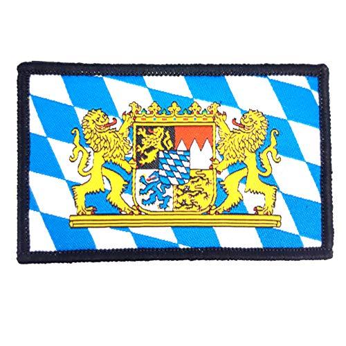 1 x Bayerisches Staatswappen Bayern Flagge Fahne Löwe Löwenwappen Wappen Bayrisches Aufnäher Patch Klett