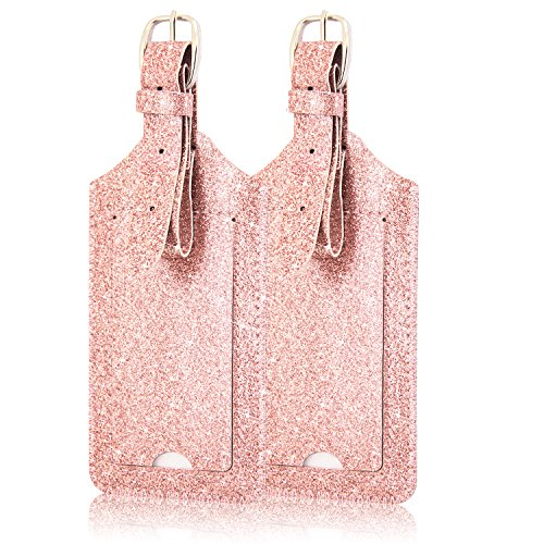 2 Pack Luggage Tags, ACdream Premium PU Leather Case Name Luggage Bag Tags for Travel Bag Suitcase Set with Name ID Labels, Glitter Rose Gold