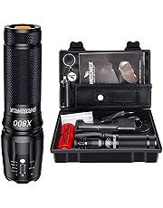 Shadowhawk X800 Cree latarka LED, super jasna 4000 lumenów, latarka taktyczna z zoomem, na kemping, wędrówki i w sytuacjach awaryjnych (z baterią 5000 mAh 26650)
