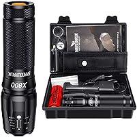 Shadowhawk X800 Lampe de poche LED CREE ultra lumineuse, 4000 lumens, lampe de poche tactique rechargeable avec zoom pour...