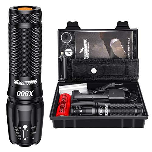 Shadowhawk X800 Led Taschenlampe, Super Helle 4000 Lumen CREE Taschenlampen, Wiederaufladbare Taktische Taschenlampe mit Zoom für Camping, Wandern und Notfälle (mit 5000mah 26650 Batterie)