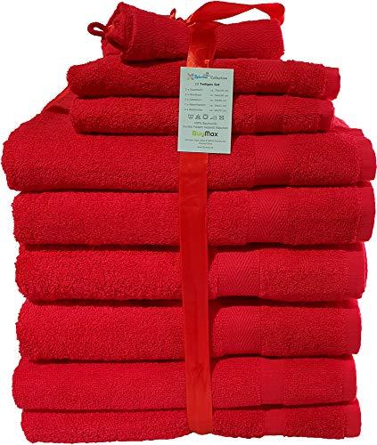10 TLG Handtuch-Set Sparset 2X Badetücher, 2X Gästetücher, 2X Waschhandschuhe, 2X Duschtücher, 2X Badvorleger, 100prozent Baumwolle Oeko Tex Standard, Farbe Rot