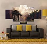 YUJEJ801 Wall Art Picture 5 Pieces Modern Painting Prints on Canvas Artwork Star Wars at-at 200X100CM No Frame for Living Room Home Decoration Poster Multi-Size