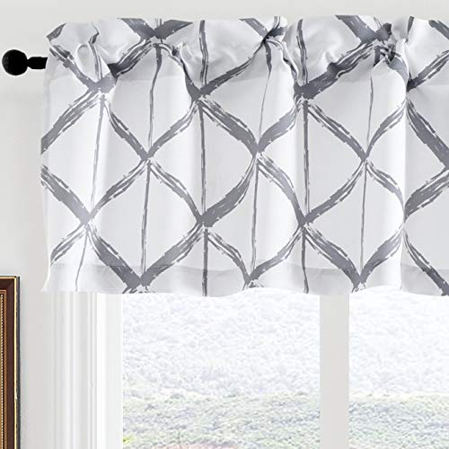 """JUJOLY Paintbrush Geometric Triangle Trellis Pattern Blackout Window Curtain Valance for Living Room Thermal Insulated Kitchen Valances for Windows 52"""" x 1 8""""+1.5"""" Header Silver Gray and White"""