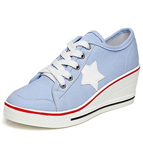 Solshine Damen Canvas Sportlich Low Top Keilabsatz Schnürer Sneaker-Wedges Sportschuhe Größe 35-43