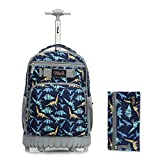 Tilami Rolling Backpack 18 inch with Pencil Case Wheeled Laptop Bag, Dinosaur