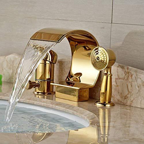 KUNEIX Badewanne Wasserhahn Luxuriöse goldene Wasserfall Badewanne Mischbatterie Deck Mount Einhand-Wannenarmatur mit Handbrause