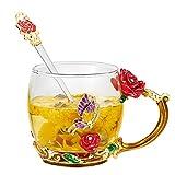 APHT Taza de Té de Cristal de Flores con Cuchara Roze chrysanten Transparente con Cuchara, Hecha a Mano para mamá Esposa Mujeres de San Valentín