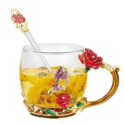 Xsayjia Mariposa Rosa/Crisantemo Copa de té de Flores Esmaltes de Vidrio Artesanal Tazas para Mujeres, Esposa, Madre, Maestra,día de la Madre, San Valentín(320ML Rose)