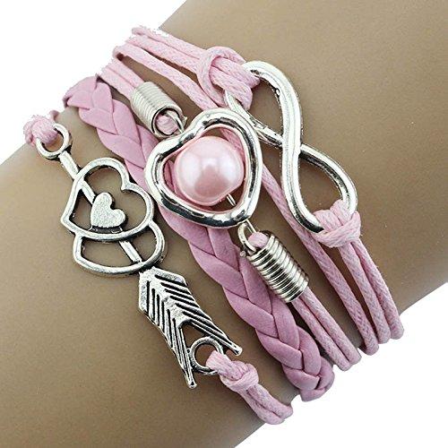 AQ89 Infinity Love Heart Pearl Friendship Antique Leather Charm Bracelet PK, Bracelets, Jewelry & Watches (Pink)