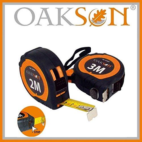 Oakson 767007 Mètre Ruban Bicolore avec Grip, 3 m x 16 mm