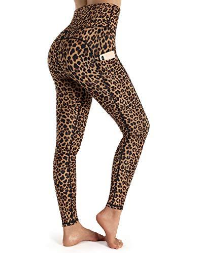 OUGES Womens High Waist Pockets Yoga Pants Running Pants Workout Leopard Leggings(Brown Leopard,M)