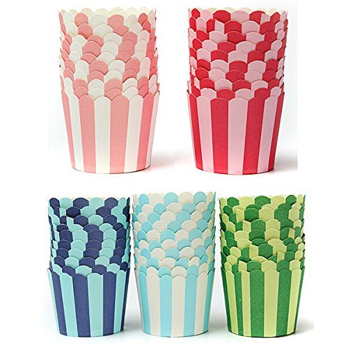 Bluelover 50Pcs Cupcake Cuisson Papier Stripe Muffin Cup Home Noce-Bleu Ciel