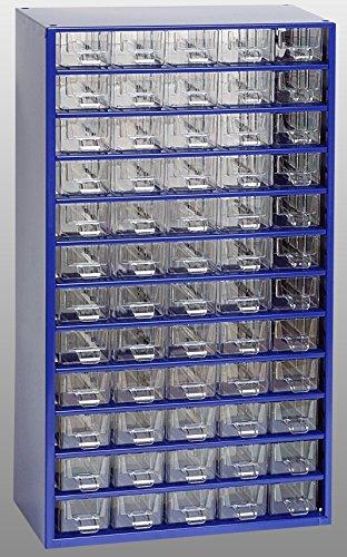 Kleinteilemagazin Metall blau 551 x 306 x 155 mm 60 glasklare Kunststoff-Schubladen incl. 20 Trennstege Werkstattqualität