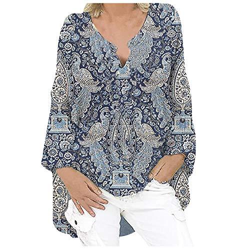 Sweatshirt Oberteil Damen Langarm Lose Bluse Hemd Shirt Oversize Tops Hemd Bluse Frauen Plus Size Mode Lässig Langarm Print Loose V-Ausschnitt Top (M,4grau)