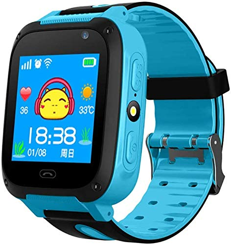 Kids Smart Watch Phone, smartwatches for Children with GPS Tracker,Anti-Lost sos Call Boys and Girls Birthday Compatible Android iOS Touch Screen Voice Chat Remote Camera (Blue)