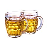 ZBling Classic Beer Pint Style Mugs Glass Pot Old Pub Bar Style Tankard Handle Dimpled Glass 2 Packs, Strong and Durable