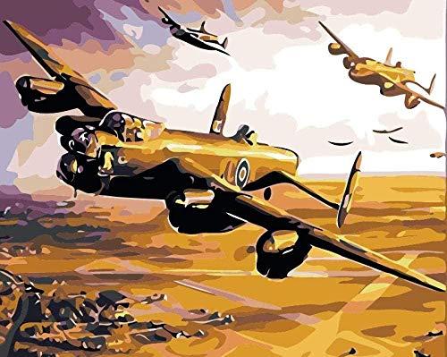 Paint by Numbers for Kids Vliegtuig vliegt in de lucht DIY Paint by Numbers Kit Canvas DIY olieverfschilderij met 3 borstels en felle kleuren-40x50cm zonder lijst