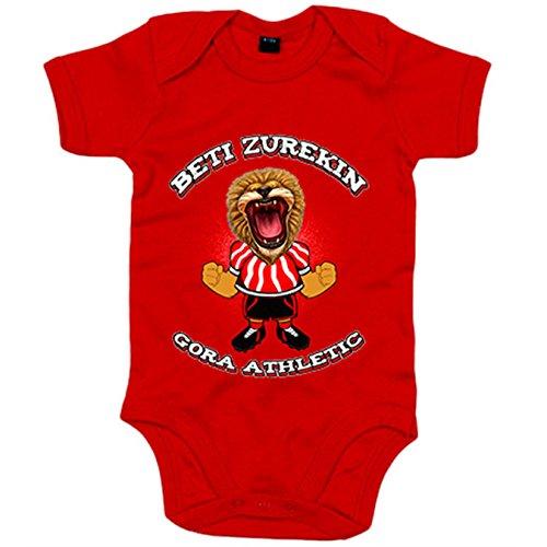 Body bebé ilustración león rugiendo Beti zurekin Athletic - Rojo, Talla única 12 meses