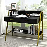 Tiptiper 41'' Computer Desk with Monitor Stand & Storage Shelf, Study Writing Table with 2 Large Drawers, Modern Simple Laptop PC Workstation for Home Office, Golden Metal Frame, Black