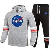 ATHIHOOD Unisex Nuovo Tuta Sportiva con NASA Stampa, Felpa con Cappuccio e Sportiva Pantalone Lungo XS-XXL (Grigio-h,M)