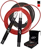 Deluxe High Speed Jump Rope - Skipping Rope for Fitness - Jump Ropes Adjustable Cables (2), Crossfit Jump Rope Workout for Women Or Men Gift - Double Unders Speed Rope - Boxing Jumping Rope for Adults