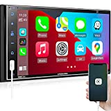 Double Din Car Stereo Apple CarPlay, ABSOSO 7 inch HD Full Touch Car Audio Receiver - Bluetooth, Voice Control, Screen Mirroring, Backup Camera, AM/FM Radio Tuner, USB/SD/ Aux Input, SWC