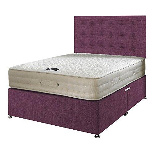 Happy camas de leche vitalidad 2000muelles ensacados de espuma con efecto memoria de látex colchón con tela Diván base/distintas opciones de cajones/botones cabecero de cama, Morado, Doble (135 x 190 cm)