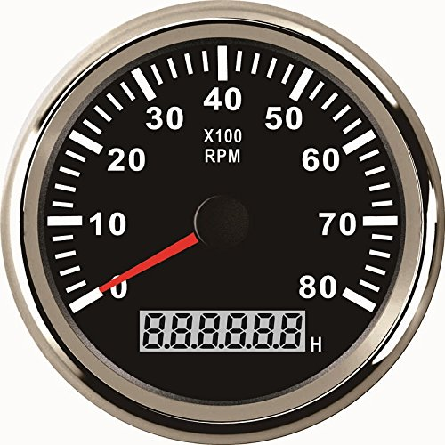 ELING Engine Tachometer RPM Gauge REV Counter with Hourmeter 8000RPM 85mm with Backlight