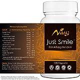 JUST SMILE - für ALLTAGSHELDEN - Mit B6² und B12³ für das Nervensystem und die Psyche - natürliches Mittel mit 500mg Baldrian, L-Tryptophan (Serotonin-Vorstufe), Passionsblume, Lavendel – 120 Kapseln