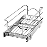 Rev-A-Shelf 5WB1-0918CR-1 9 Inch Width x 18 Inch Depth Single Wire Basket Pull Out Shelf Storage Organizer for Kitchen Base Cabinets, Silver